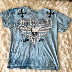 Men's Affliction shirt M skull shirt trendy 🖤